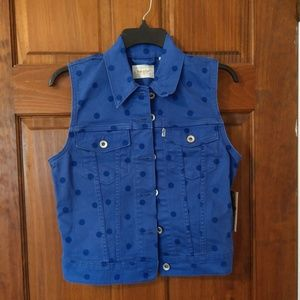 Levi's blue/purple polka dot denim vest